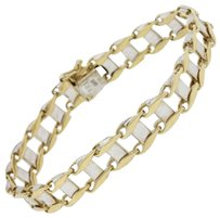 Modern Sri 14k Solid Yellow White Gold 10mm Link Chain Bracelet 37g