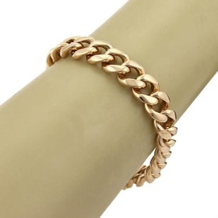 Estate 18k Rose Gold Curb Link 11mm Wide Bracelet - 8 Long
