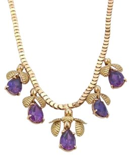Vintage 10ct Amethyst 18k Rose Green Gold Floral Drop Charm Necklace