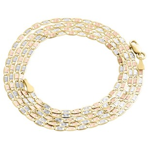 Real 10k Tri-tone Gold Solid Valentino Link Chain 2mm Necklace - Inches