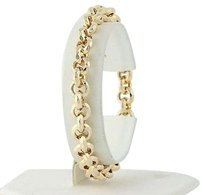 Textured Rolo Chain Bracelet 14 - 14k Yellow Gold Lobster Claw Clasp