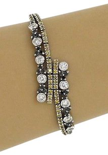 Other Estate 18kt Two Tone Gold 4.00ctw Fancy Color Diamond Bypass Design Bracelet