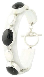 Other Chunky Onyx Bracelet - Sterling Silver Mexico 925 8.25 Toggle Clasp Black Stone
