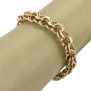 Other Vintage 14k Yellow Gold 11mm Wide Double Round Chain Link Bracelet