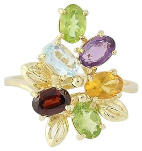 Other Multi-gemstone Cluster Ring - 14k Yellow Gold Peridot Garnet 2.70ctw