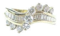 Fine Round Baguette Diamond Bypass Yellow Gold Jewelry Ring 1.10ct