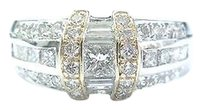 Fine Princess Baguette Round Diamond White Gold 2-tone Jewelry Ring .90ct