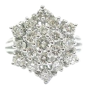 Fine Round Cut Diamond Cluster 19-stone White Gold Ring 1.50ct Sz 7