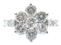 Fine Round Brilliant Diamond Flower Cluster White Gold Ring 2.05ct
