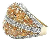 Fine,Gem,Orange,Sapphire,Diamond,Cluster,Yellow,Gold,Ring,5.65ct