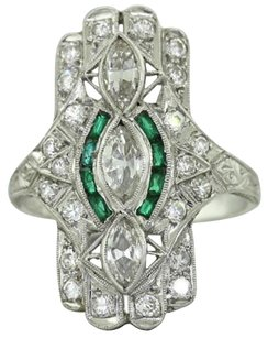 Antique Art Deco Estate Platinum 1.00ctw Diamond Emerald Filigree Cocktail Ring