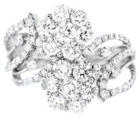 Other Glk 18k White Gold 2.50ct Diamond Flower Ring