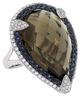 25.95ct Smokey Topaz 14k White Gold Sapphire And Diamond Ring