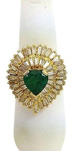 Estate 18k Ygold 6.75ct Heart Shape Emerald Baguette Diamond Cocktail Ring