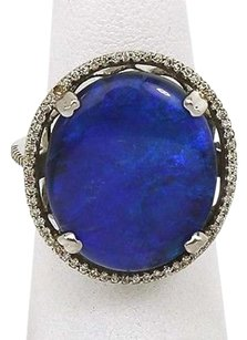 Other 18k White Gold 10.84ctw Diamond Black Opal Cocktail Ring