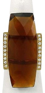 Other 18k Yellow Gold Diamond Cognac Quartz Ladies Cocktail Ring
