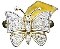 Womens,10k,Yellow,Gold,Ladies,Butterfly,Fashion,Designer,Diamond,Ring,.50,Ct