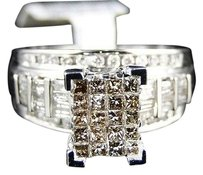 14k,Ladies,White,Gold,Princess,Cut,Brown,Diamond,Engagement,Wedding,Ring,1ct