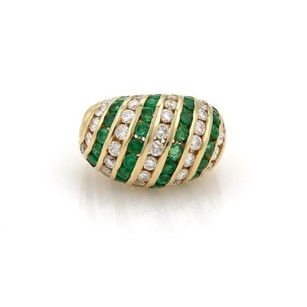 Hammerman Brothers 4.60ct Diamond Emerald 14k Yellow Gold Dome Ring