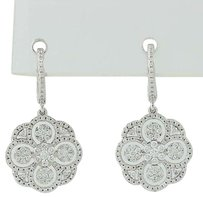 Diamond Drop Earrings - 14k White Gold Milgrain Pierced 1.48ctw