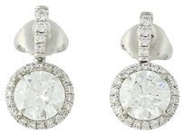 Other Diamond Halo Earrings - 950 Platinum Gia Triple Excellent Cuts 2.43ctw