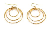 Other Graduated 14k Yellow Gold Diamonds Triple Hoops Drop Dangle Earrings