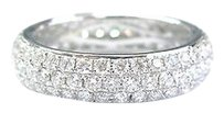 18kt,Round,Brilliant,Diamond,3-row,Pave,Wg,Jewelry,Eternity,Band,2.00ct,Sz,7