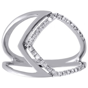 10k White Gold Diamond Geometric Statement Ring Modern Cocktail Band 0.17 Ct.