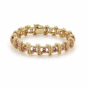 Other Estate 4ct Ruby 14k Yellow Gold Fancy Long Leaf Link Floral Bracelet