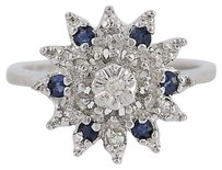 Diamond Sapphire Ring - 14k White Gold Round Cut Womens Halo .32ctw