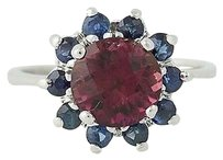 Other Tourmaline Sapphire Halo Ring - 14k White Gold 2.55ctw