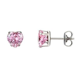Pink Solitaire Cz Earrings Ladies Stainless Steel 6mm Studs Womens Cubic Zircon