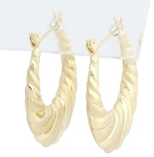 Other Ribbed Hoop Earrings - 14k Yellow Gold Tapered Textured Pierced