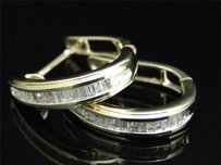 10k,Ladies,Womens,Yellow,Gold,Baguette,Diamond,Hoops,Huggies,Earrings,15mm,14c