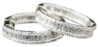 14k,Ladies,White,Gold,Rounnd,Diamond,In,And,Out,Bgt,3,Row,Hoops,Earrings,3.52,Ct
