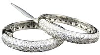 10k,Ladies,White,Gold,Finish,Pave,Diamond,Hoops,Huggies,Earrings,32mm,3.53,Ct
