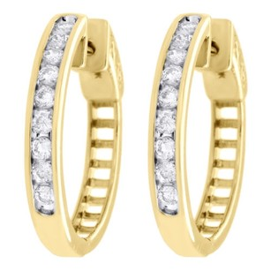 Other 10k Yellow Gold Genuine Diamond One Row Channel Set Huggie Hoop Earrings 12 Ct.