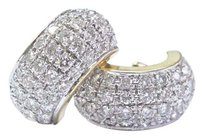 Other Fine Round Cut Diamond Pave 14kt Yellow Gold Huggie Earrings 80-stones 5.00ct
