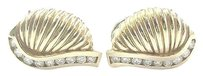 18kt,Diamond,Yellow,Gold,Shell,Earrings,.50ct,18.3mm