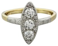 1920s Antique Art Deco 14k Yellow Gold Platinum .65ctw Diamond Navette Ring