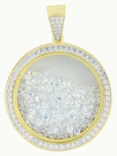 Round Medallion Pendant Floating Lab Created Diamonds Gold Over Sterling Silver