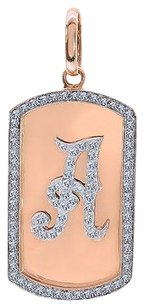 2.75 Carat Round Cut Diamond Dog Tag Personalized Initial Pendant 14k Rose Gold