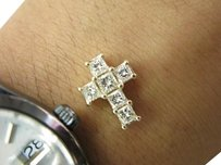 Fine Princess Cut Diamond Cross Pendant Solid 14kt 1.35ct