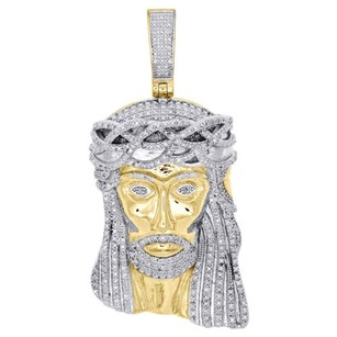 Real Diamond Jesus Face Piece Pendant .925 Sterling Silver 2 Mens Charm 1 Ct.