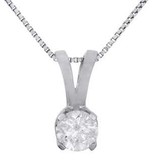 14k White Gold Round Solitaire Diamond Pendant Ladies Necklace 1 Ct. W Chain