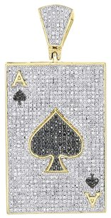 10k Yellow Gold Black Diamond Pendant Ace Of Spades Poker Pave Charm 1.61 Ct.