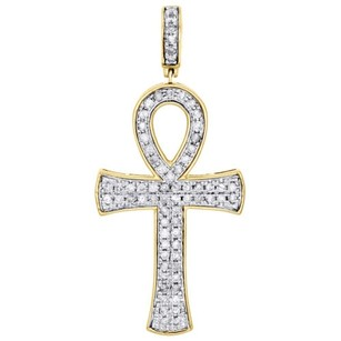 10k Yellow Gold Round Diamond Egyptian Ankh Cross Pendant 2 Pave Charm 1.02 Ct.