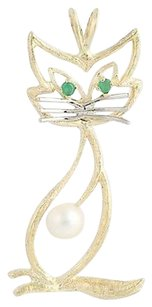 Other Cultured Pearl Green Chalcedony Cat Pendant - 14k Yellow White Gold Feline