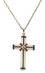 Cross Pendant Necklace - Diamond Accent Sterling Silver Enamel Religious 18
