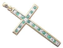 Other 18kt Asscher Cut Gem Green Emerald Diamond Yellow Gold Cross Pendant 1.5 .65ct